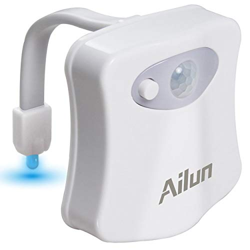 Toilet Night Light 1Pack by Ailun Motion Activated Led Light 8 Colors Changing Toilet Bowl Nightlight for Bathroom Battery Not Included Perfect Decorating Combination Along with Water Faucet Light