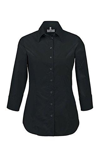 GREIFF Damen Bluse mit Kentkragen   Stretch   3/4 Arm   Easy-Care   Farbe: Schwarz   Größe: 44