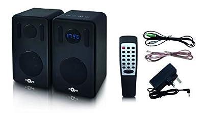 Retro Musique Bluetooth Bookshelf Speakers With FM Radio Black by Khemco (UK) Ltd