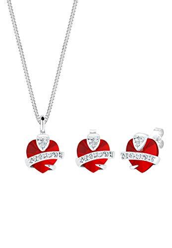 Elli Juego de Joyas Mujer Motivo Corazón Elegante con Cristales en Plata de Ley 925