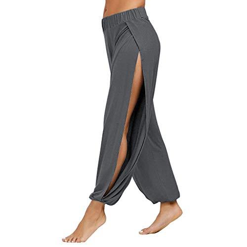 SUCCESS Damen Yogahose Haremshosen Frauen Schlitz Stretch Sport Freizeithosen Casaul Lose Tanzen Hose mit Elastisch Bund