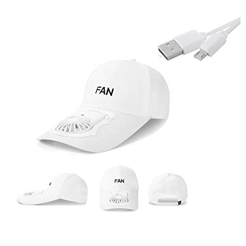 hgfds Fan Hat, Portable Creative Sun Hat, USB Charging Electric Fan Hat, Creative Outdoor Hat For Camping, Traveling and Other Outdoor Activity (White)