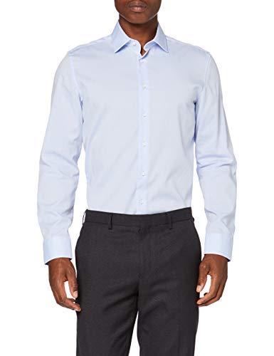 Seidensticker Herren Slim Langarm Uni Bügelfrei 2 Klassisches Hemd, Hellblau, 42 EU
