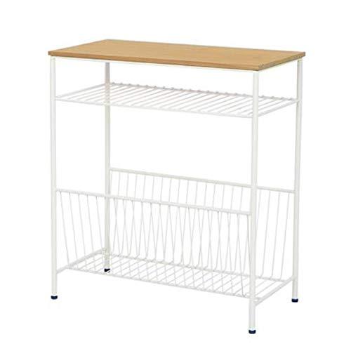 End Table DFVV Mesa Auxiliar Vintage, Mesita De Noche Industrial, Mesa Auxiliar con Compartimento De Almacenamiento Abierto, Blanco/Negro