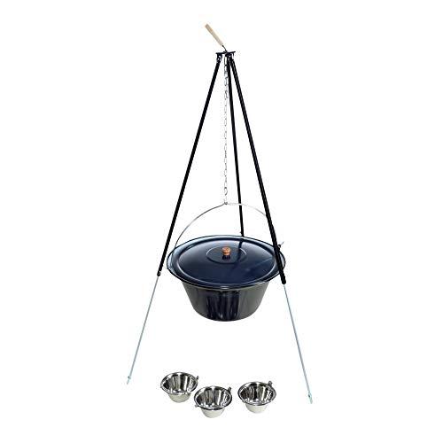 Preisvergleich Produktbild acerto 31162 Original ungarischer Gulaschkessel (30 Liter) + Dreibein-Gestell (180cm) * Emailliert * Kratzfest * Inkl. 3 Schüsseln / Teleskop-Dreifuß mit Gulasch-Topf,  Suppentopf,  Glühweintopf