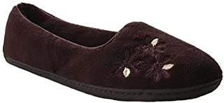 حذاء نسائي من Dearfoam مصنوع من الألياف الدقيقة من الوبر مغلق من الخلف مع شبشب مطرز بالباليرينا