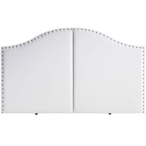 marckonfort Cabezal Partido tapizado Lyon 160X95 con Tachuelas Blanco