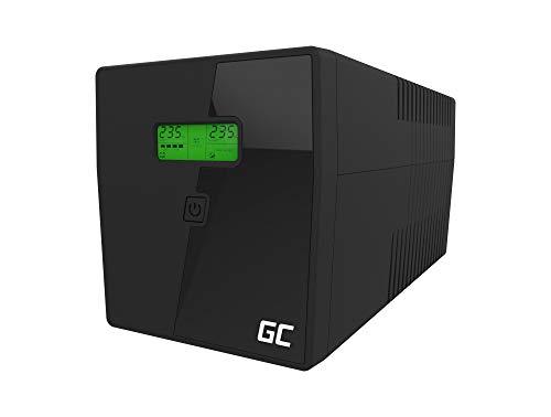 Green Cell® UPS USV Unterbrechungsfreie Stromversorgung 1500VA (900W) mit Überspannungsschutz 230V Line-Interactive AVR Power Supply USB/RJ45 4X Schuko Ausgänge LCD Bildschirm