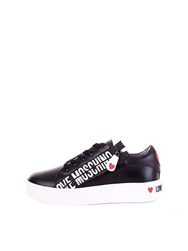 Moschino Scarpe Donna Love Sneaker Fondo cassetta Pelle Nero Con Zip DS21MO10 JA15093
