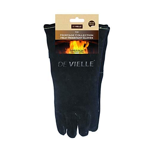 De Vielle Heritage Leather Stove Gloves, Metal, Black, 39x32x50