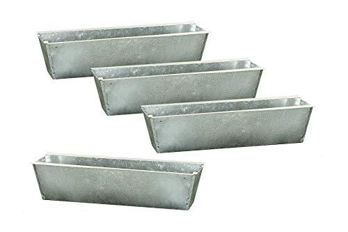 Spetebo Zink Pflanzkasten Einsatz für Europalette - 4 Stück/Silber - Blumenkasten Balkonkasten Pflanzenkasten