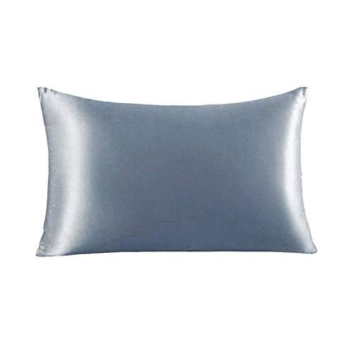 Funda de almohada de seda de morera natural,Ropa de cama,suave y transpirable con 21 Momme 600TC funda de almohada de seda transpirable, suave e hipoalergénica,Ayuda a dormir(50X75cm,Silver Grey)