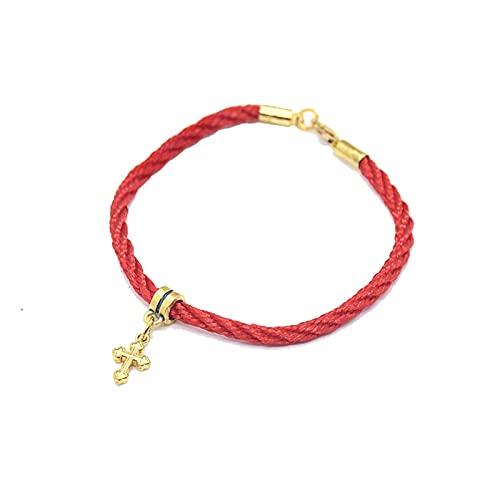Pulsera Cuerda Roja Hecha A Mano Star Palm Jerusalem Pulsera Colgante Cruz 19.5Cm