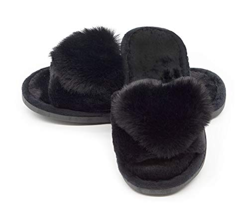 Women's Fuzzy Fluffy Furry Fur Slippers Flip Flop Open Toe Cozy House Memory Foam Sandals Slides Soft Flat Comfy Anti-Slip Spa Indoor Outdoor Slip on(01/Black, 9-10 M US)