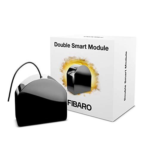FIBARO Double Smart Module/Z-Wave Plus Interruttore relè a contatto pulito a due canali per due dispositivi, FGS-224, nero
