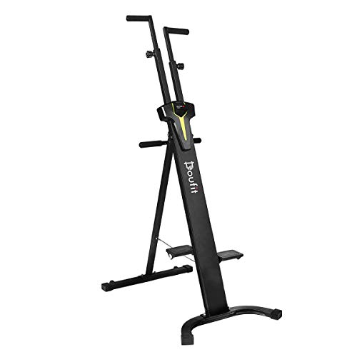 Doufit Vertical Climber Exercise Machine, CM-01 Heavy Duty Folding Climbing Machine for Home Workout, Fitness Stair Climber with LCD Monitor (Max Capacity 220 Lbs)