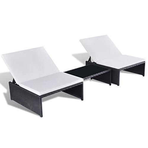 fzyhfa Juego de chaise longue 5pcs (resina trenzada negro para casa, jardín, balcón ect
