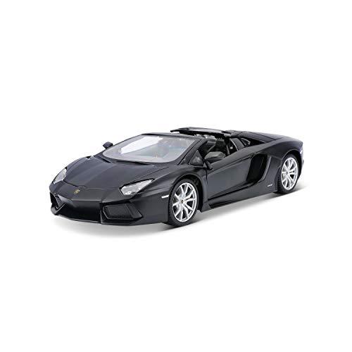 Maisto Lamborghini Aventador Roadster: Originalgetreues Modellauto 1:24, Türen und Kofferraum zum Öffnen, Fertigmodell, 20 cm, schwarz (531504M)