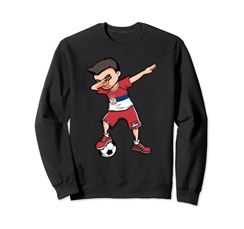 Dabbing Soccer Boy Serbien Fußball Fans Trikot Serbische Flagge Sweatshirt