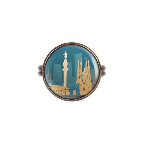 Mylery Anello con Motivo Skyline Barcellona, Spagna Sagrada Familia Madonnina Bronzo 16mm