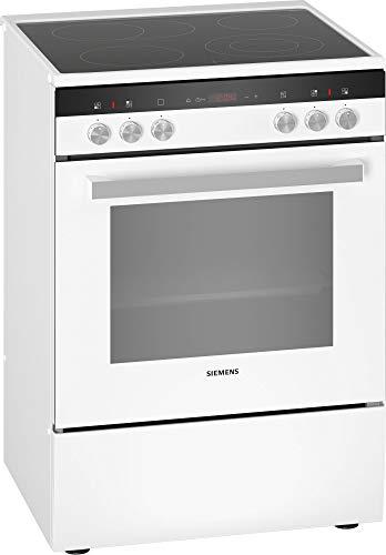 Siemens HK9R3A220 iQ300 freistehender Elektroherd mit Glaskeramik-Kochfeld / A / 60 cm / Weiß / ecoClean Reinigung / Schnellaufheizung / 3D Heißluft Plus
