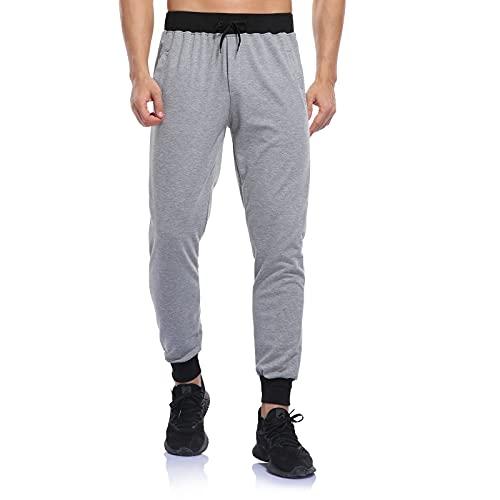 2021 Pantalones de deporte para hombre, de algodón, ligeros y suaves, cómodos, con rayas de colores, gris, M