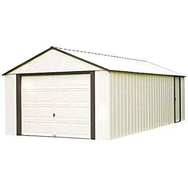 Arrow Shed VT1231 12 x 31 ft. High Gable Coffee Steel Storage Shed, Almond Walls/Roof/Doors/Gables & Coffee Trim