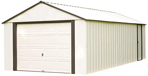 Arrow Shed VT1217 12 x 17 ft. High Gable Coffee Steel Storage Shed, 12' x 17', Almond Walls/Roof/Doors/Gables & Coffee Trim