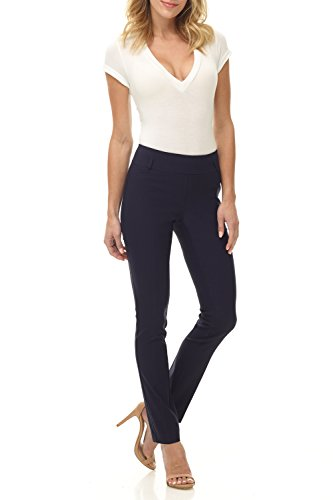 Rekucci Women's Ease into Comfort Stretch Slim Pant (16,Navy)