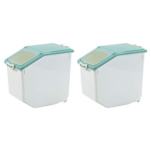 Dittzz 2 Stücke Reis Box 15KG Reis Vorratsbehälter Küche Getreide Aufbewahrungsboxen Siegel Getreidelagerbehälter mit Messbecher für Reiskorn-Korn Küche Getreide Lebensmittel