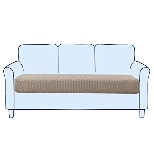 Subrtex - Funda para asiento de sofá elástica y suave para proteger el cojín del asiento del sofá, lavable (3 plazas, color arena)