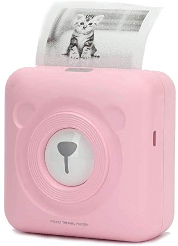 Levoty Kids Portable Mini Cute HD Bluetooth Thermal Pocket Photo Label Sticker Receipt Small Wireless Printer for iPhone Android PC Windows (Pink)