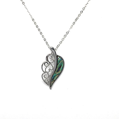 A.T. STORRS Wild Pearle Abalone Pendant - Filigree Feather