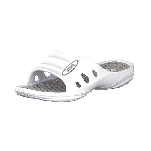 Brandsseller Damskie buty kąpielowe, klapki plażowe, kolory: biały/koral – biały/jasnoszary – biały/turkusowy – rozmiar: 36-41, biały - biały, jasnoszary. - 41 EU Schmal