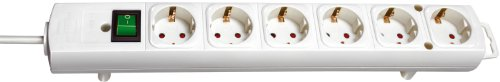 Brennenstuhl Comfort-Line, Steckdosenleiste 6-fach (mit Schalter, 2m Kabel und extra breiten Abständen zwischen den Steckdosen) weiß