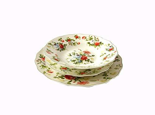 The Royal Family Servizio Piatti Decoro Floreale New Spring Rose 6 posti tavola (18 Pezzi) in Porcellana di altissima qualità - Lucente e Resistente - Adatto a lavastoviglie e Forno - Stile Inglese