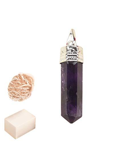 Blessfull Healing Reiki Spiritual Faith Healing Gemstone Energy Colgante de collar de piedra de amatista de 6 lados con rose Desert Selenite/Cube Selenite