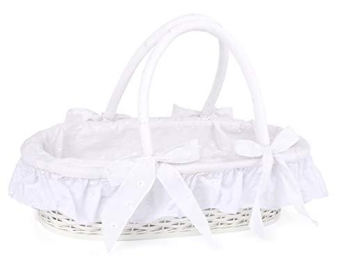 small foot 11416 poppen draagmand in wit, van binnen bekleed met stof, incl. kussen en deken, vanaf 3 jaar speelgoed, meerkleurig