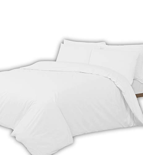 Divine Textiles 400 Thread Count Duvet Quilt Cover Set With Pillow Cases 100% Egyptian Cotton Sateen Bed Set, King - White