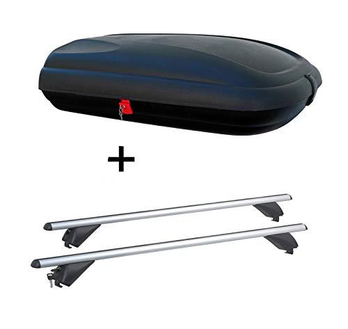 Dachbox VDPBA320 320Ltr carbonlook abschließbar + Alu Dachträger RB003 kompatibel mit Hyundai Tucson (5Türer) ab 2015