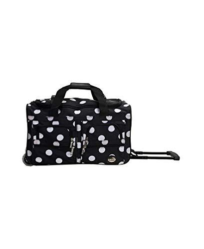 Rockland Unisex-Adult Rolling Duffel Bag, Black Dot