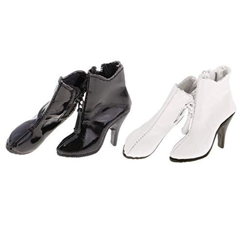 ZSMD 2 Paare Puppe Schuhe Hochhackig PU Stiefel Stiefeletten für 12 Zoll weibliche Action Figur, Weiß + Schwarz