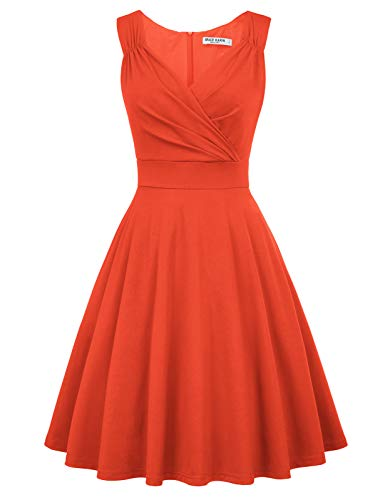 50s Kleider Rockabilly Vintage Retro Kleid cocktailkleider orange a Linie Kleider CL698-17 L