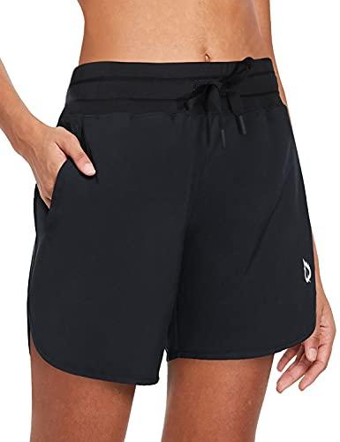 BALEAF Women's 5' Long Running Shorts with Liner Drawstring Zipper Pockets for Athletic Workout Gym Black M