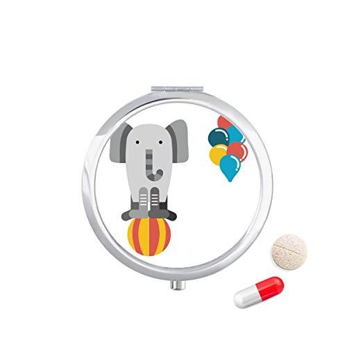 DIYthinker Geweldig Grappige Ballon Olifant Illustratie Reizen Pocket Pill Case Medicine Drug Opbergdoos Dispenser Spiegel Gift