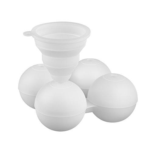FuKiPro Funky Kitchen Products Stampo per cubetti di ghiaccio XXL a forma di sfera, per 4grandi sfere di ghiaccio con diametrodi 6 cm,incl. imbuto per riempire in modo ottimale