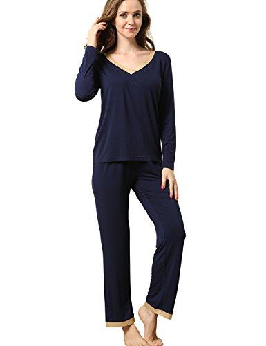 GYS Bamboo Pajamas Set for Women Long Sleeve Sleepwear with Pants Soft Comfy Pj Lounge Sets S-4X