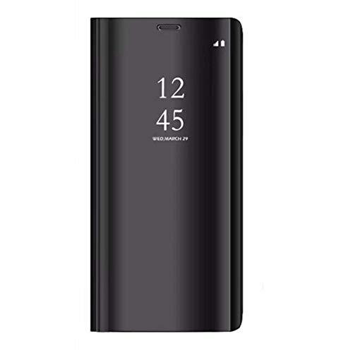 Caler Compatible con/repuesto para Xiaomi Redmi Note 6 Pro Funda Espejo Cover Clear View Case Flip Funda Funda Funda Móvil Flip Metal Mujer Bufanda con Bolsillo (Negro)