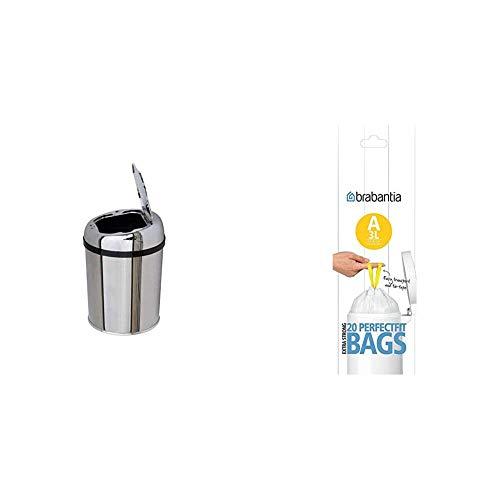 Kitchen Move BAT-03LA AS Design Originale Poubelle Sensor Automatique Inox Capacité 3 Litres & Brabantia 311727 Rouleau de Sacs Poubelle 3 L 20 Sacs par Rouleau
