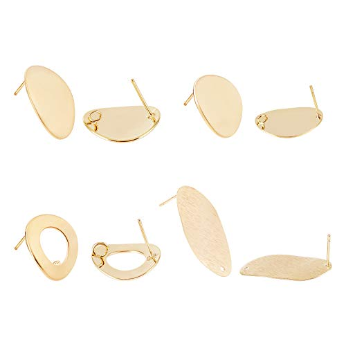 BENECREAT 16PCS 18 Karat vergoldete Ohrstecker 4 Mischform Ring/Oval/Flach Rund/Flach Oval Messing Ohrstecker Bolzen mit Schlaufe für Ohrring DIY Schmuckherstellung